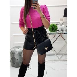 Huňatý svetrík s puf rukávmi - ružový