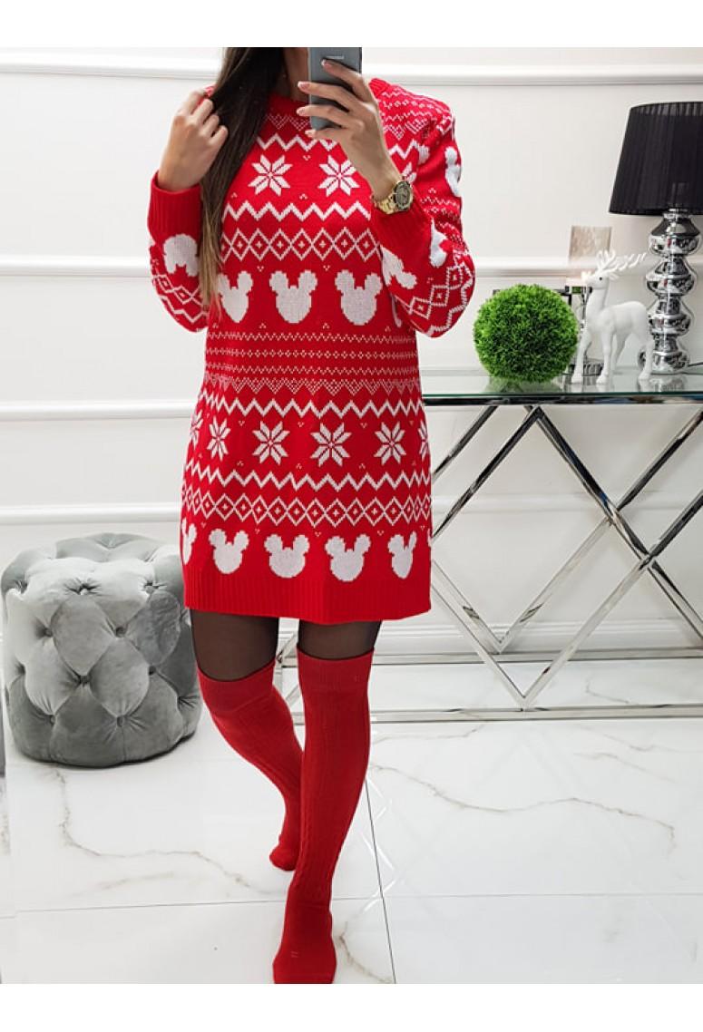 Svetríkové šaty Mickey Christmas