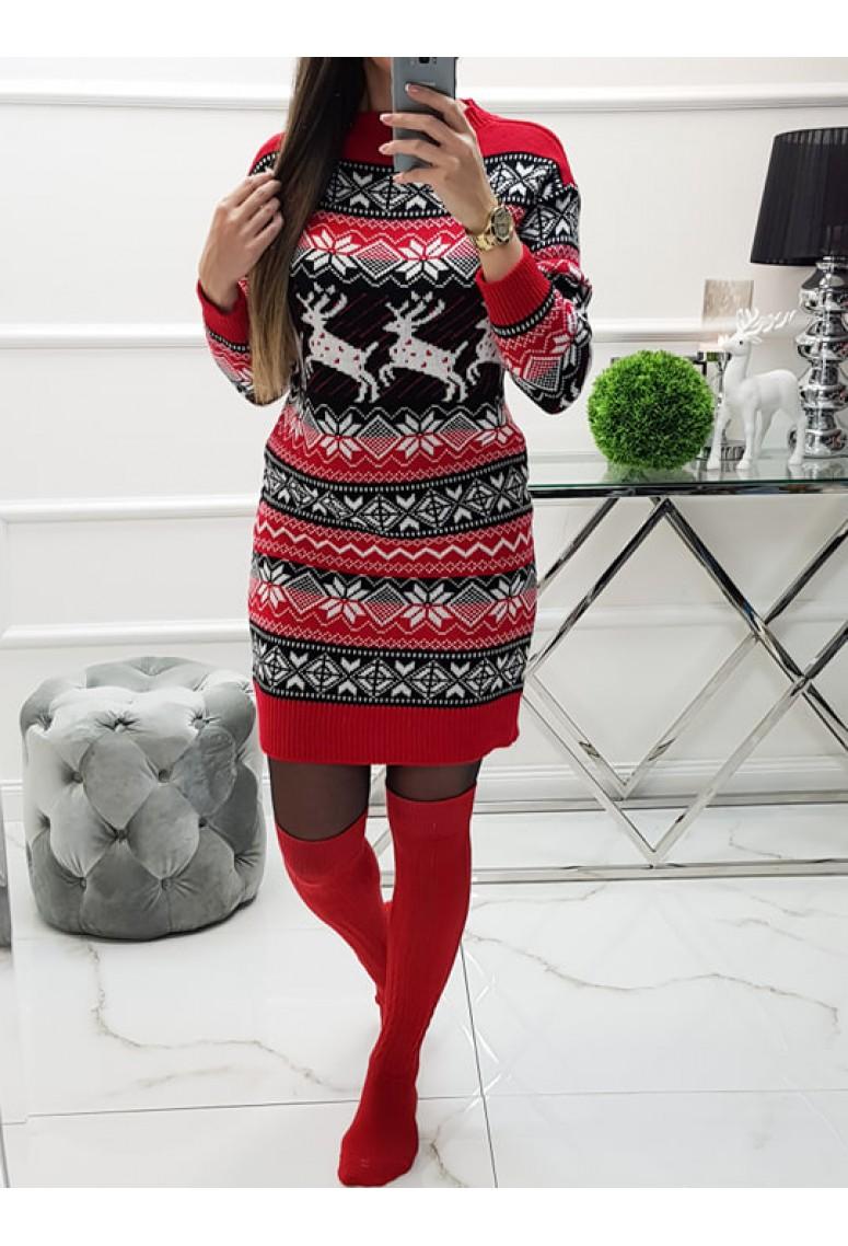 Svetríkové šaty Norway Red
