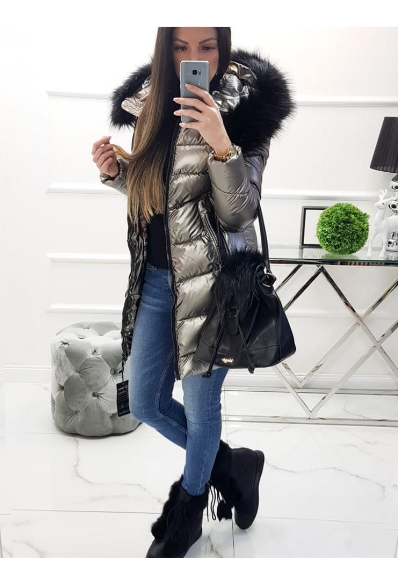 Zimná bundička Colien s čiernou kožušinou