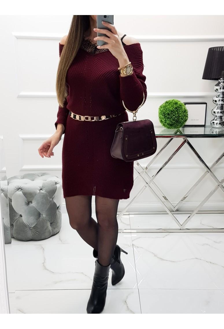 Pletené šaty s čipkovaným topom- bordové