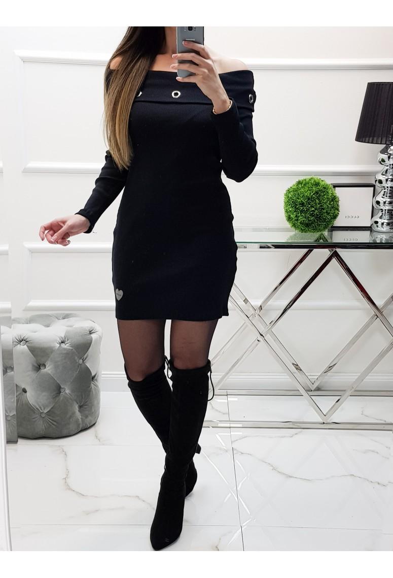 Rebrované šaty Dimly - čierne