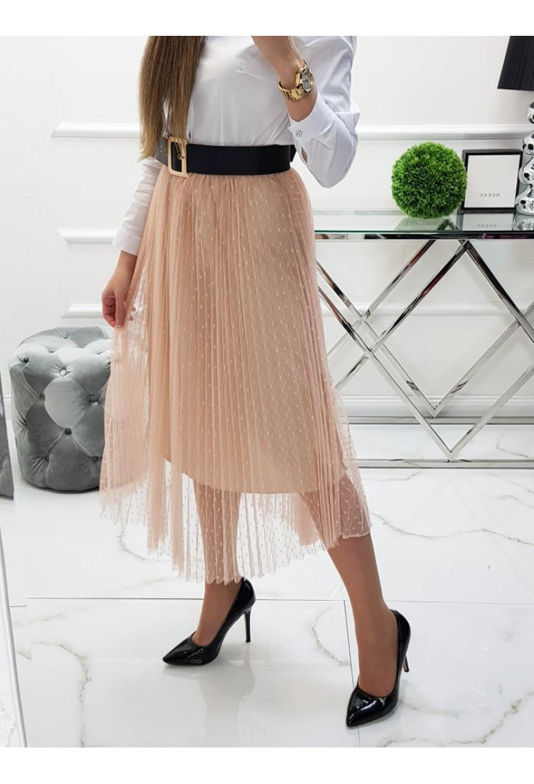 Tylová sukňa Domenica - béžová
