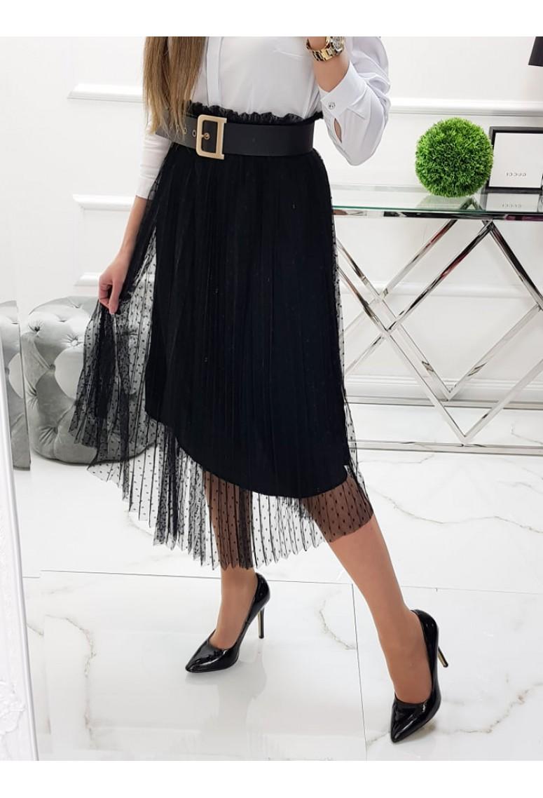 Tylová sukňa Domenica - čierna