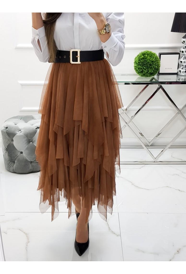 Tylová sukňa Alessa - škoricová