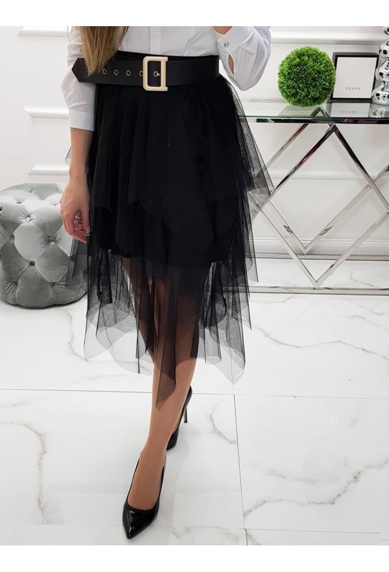 Tylová sukňa Elegance - čierna