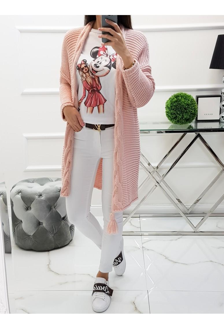 Pletený kardigan Lissa - pudrovoružový