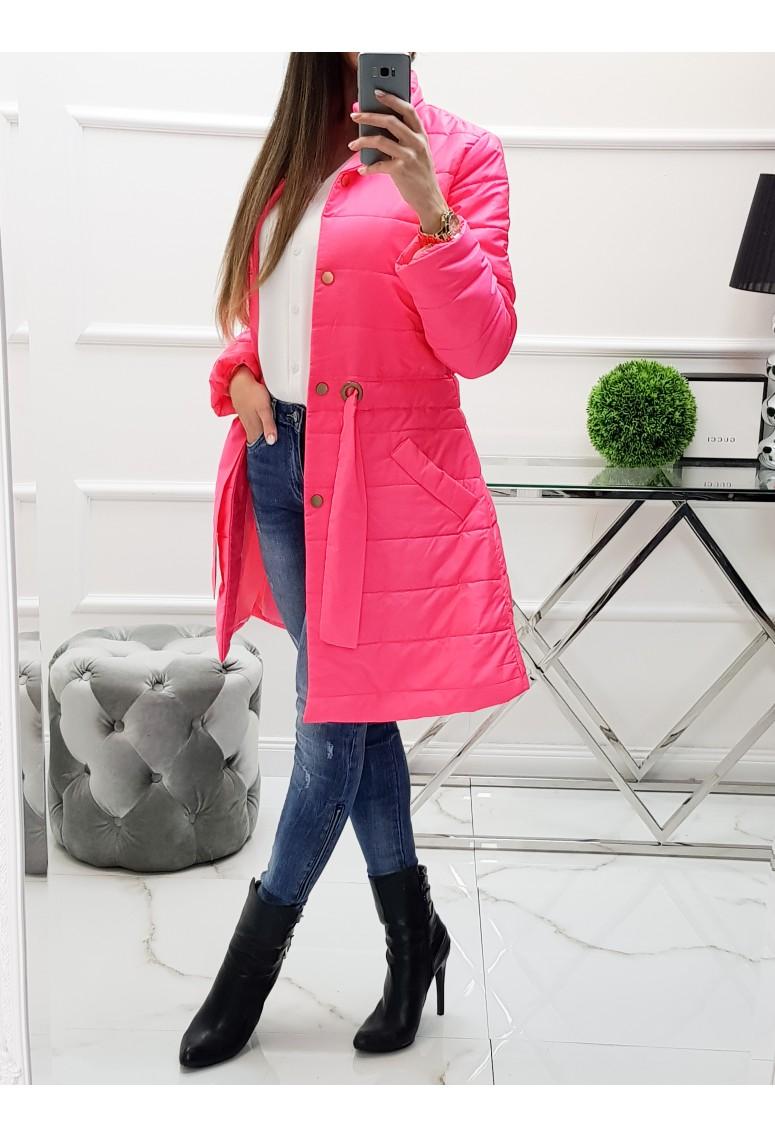 Prechodná bunda / plášť Naomi - neon ružový
