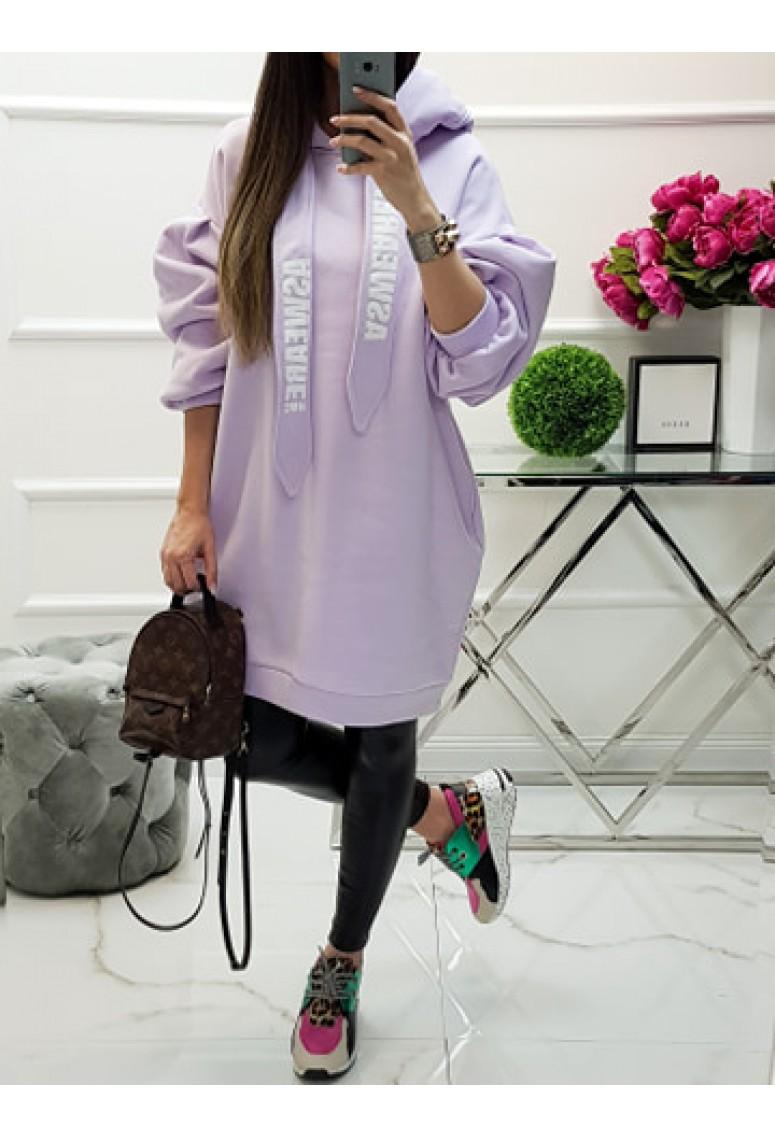 Oversize mikinové šaty MC - bledofialové