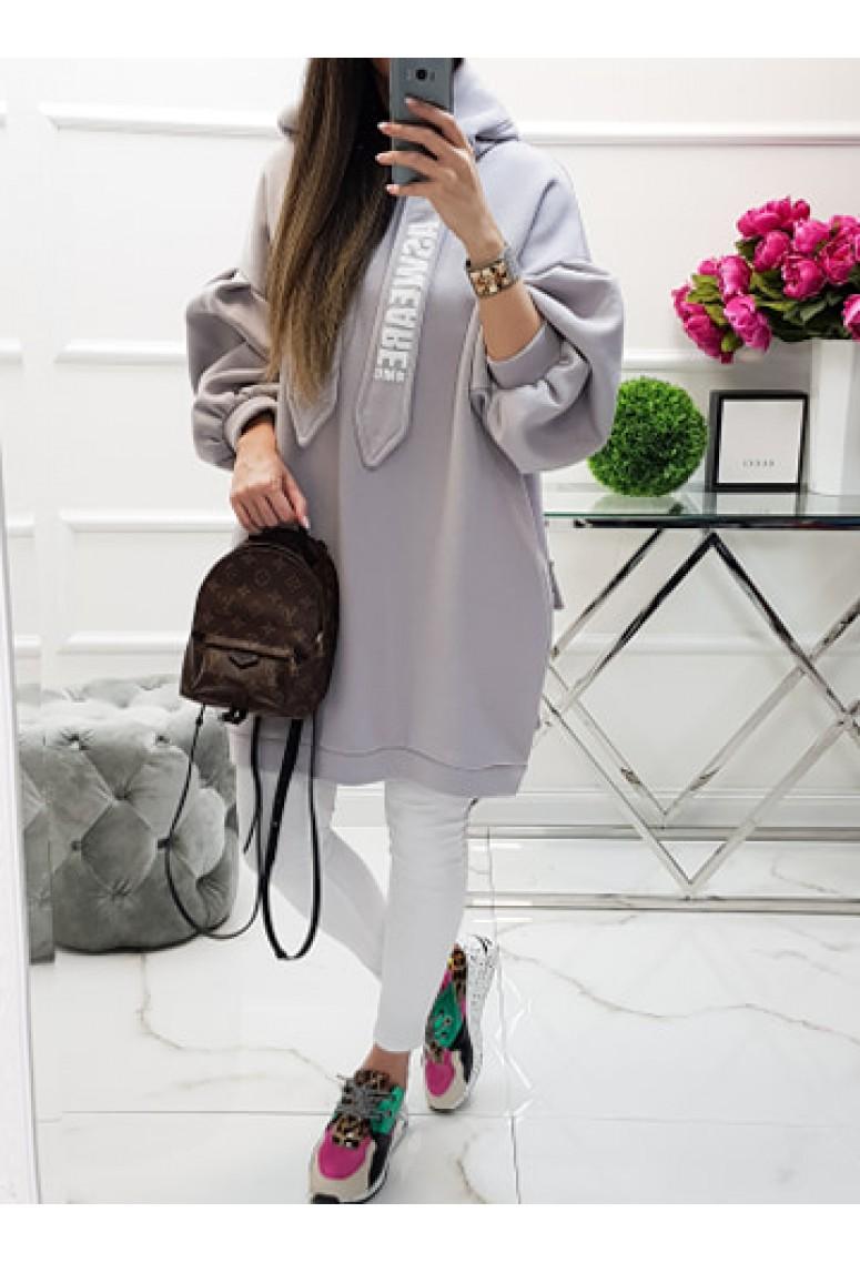 Oversize mikinové šaty MC - sivé
