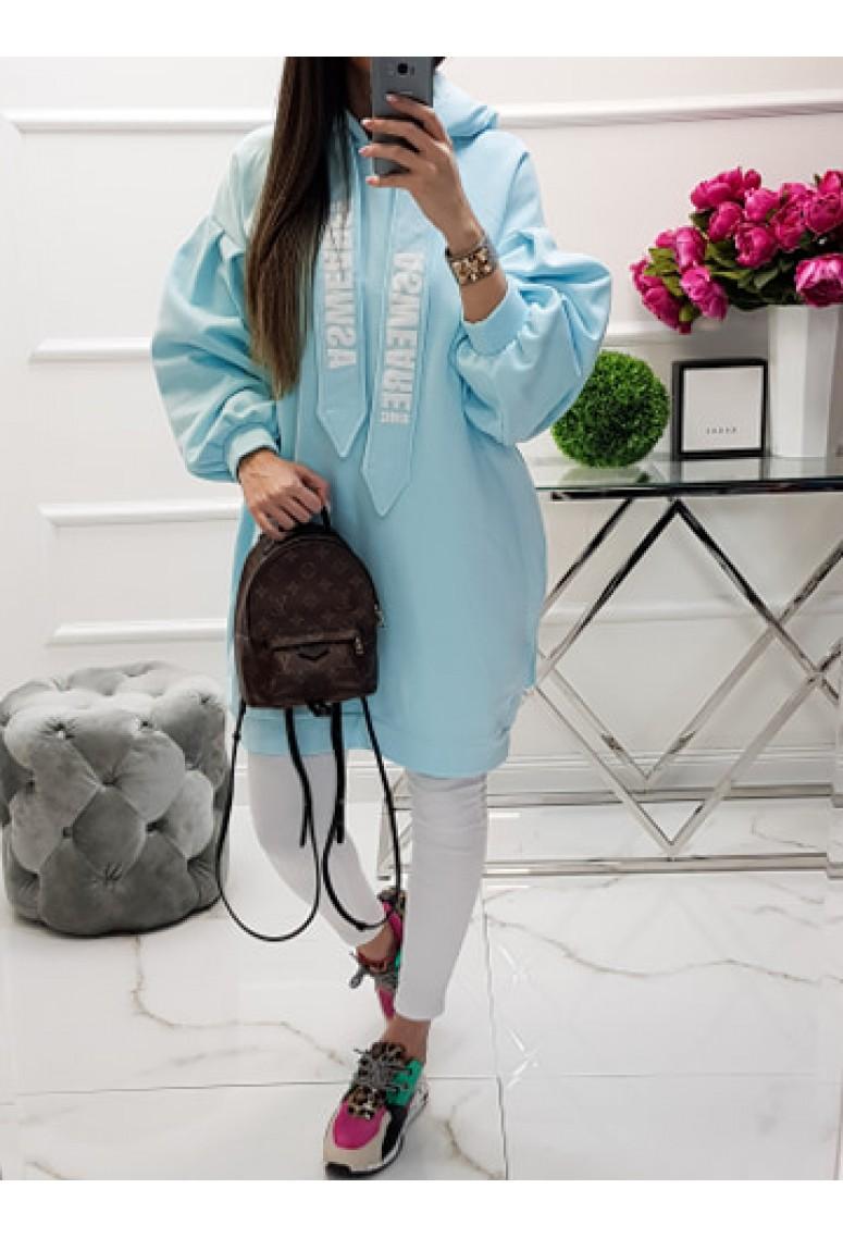 Oversize mikinové šaty MC - baby blue