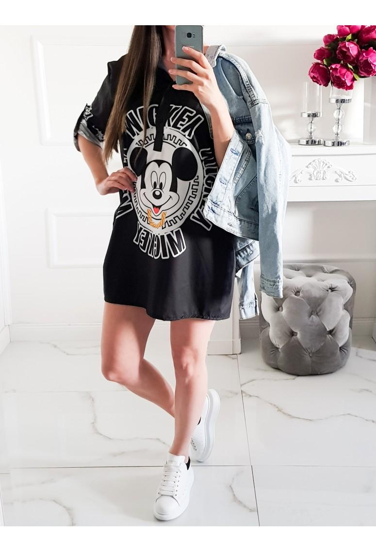 Predlžená košeľa Mickey Disney / čierna