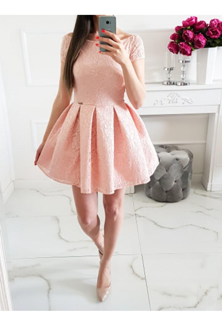 Čipkované šaty Princess - broskyňové