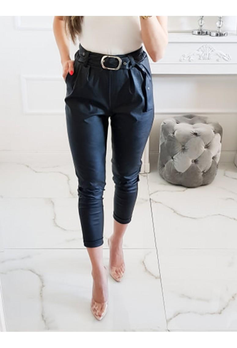 Koženkové nohavice Voga - čierne