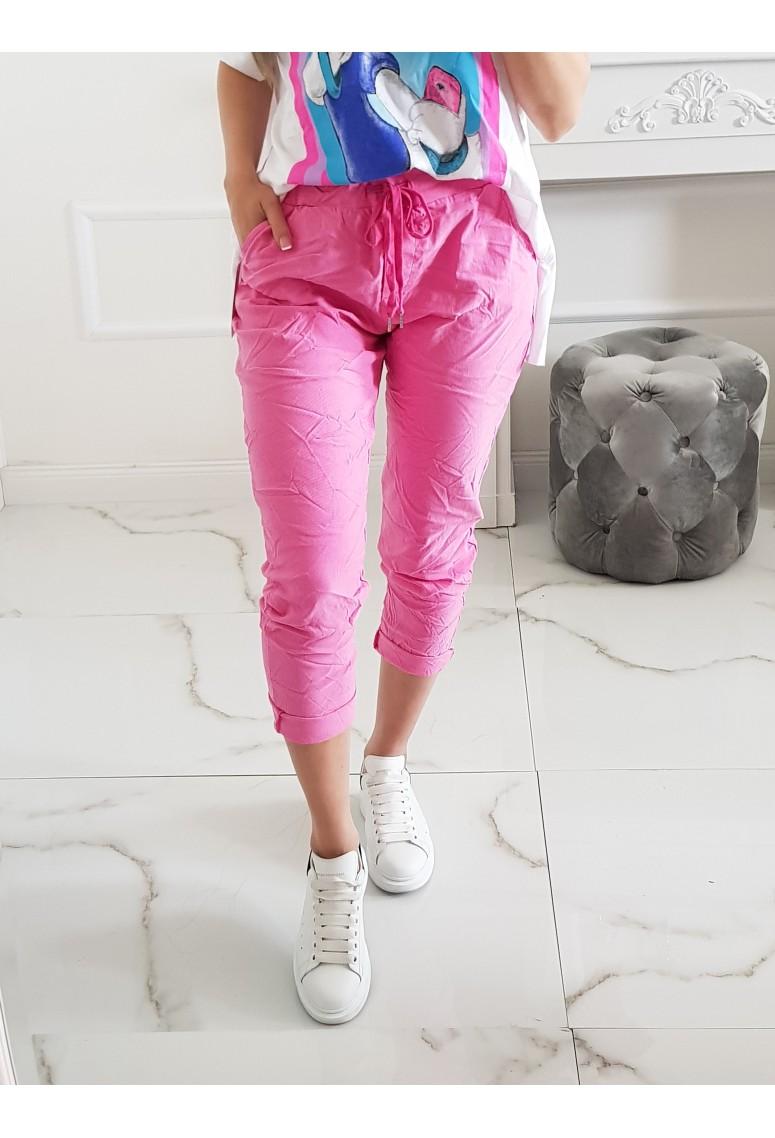 Rifľové pohodlné nohavice Sporty - ružové