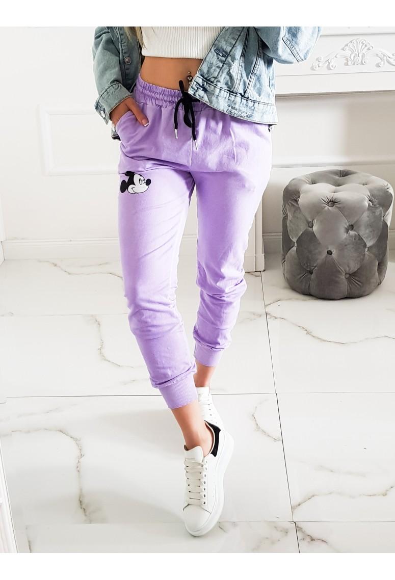 Bavlnené teplakové nohavice Miky - levanduľové