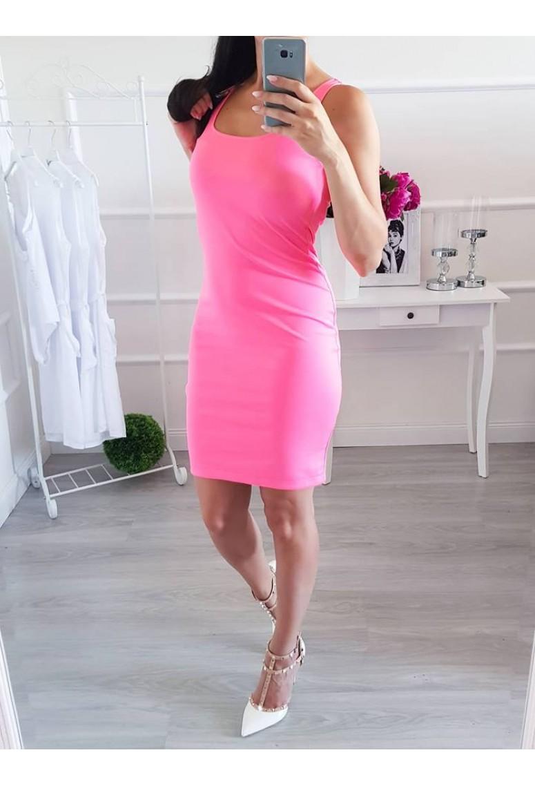 Tielkové šaty Barbara -neon ružové
