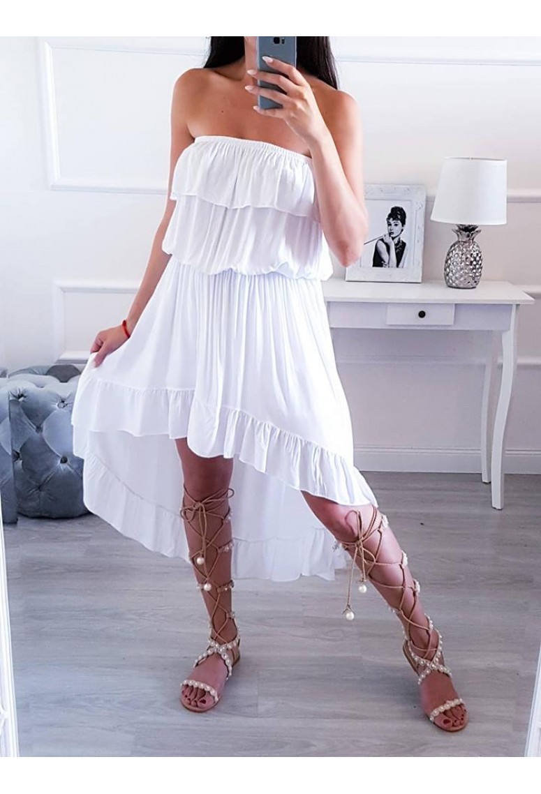 Volánové asymetrické šaty Amanda - biele 0aafba1ad0c