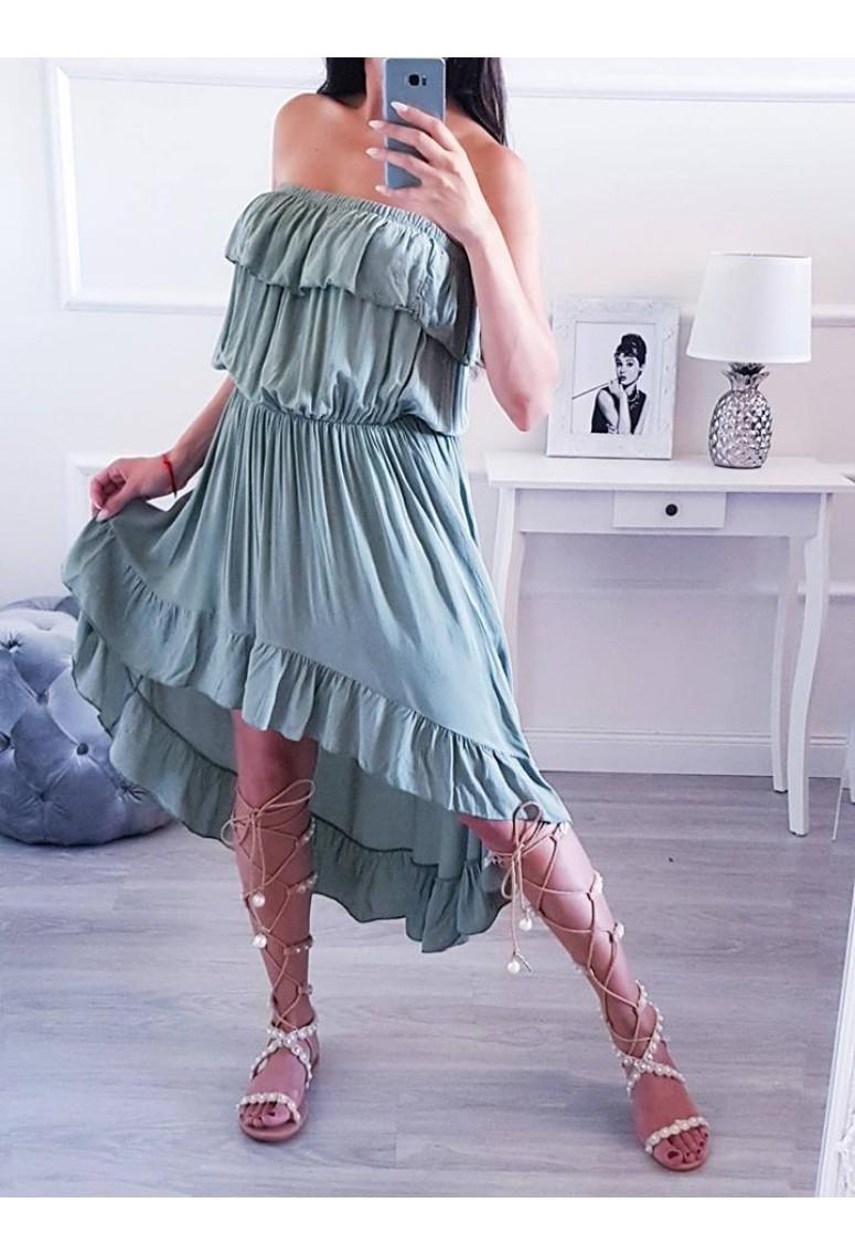 Volánové asymetrické šaty Amanda - khaki