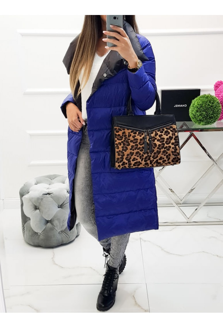 Obojstranná dlhá bunda Collar - parížska modrá / čierna