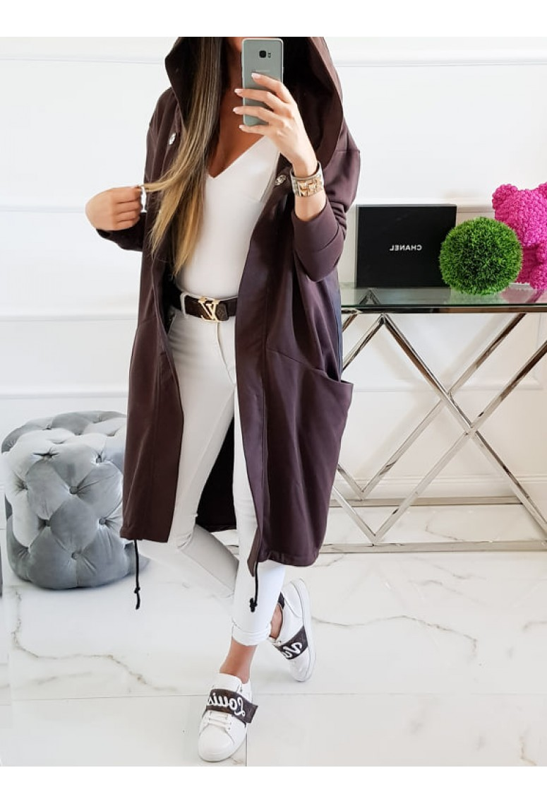 Teplákový kabátik Miss City - čokoládový