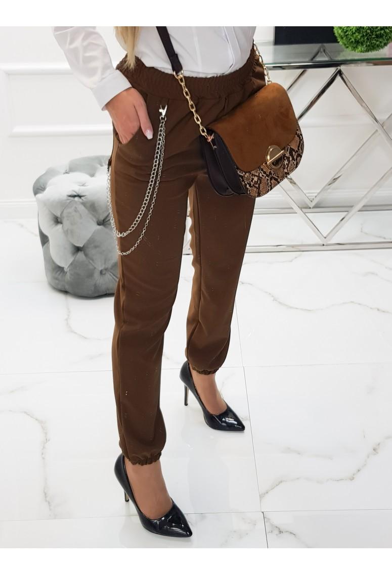 Nohavice s retiazkou Vista - hnedé