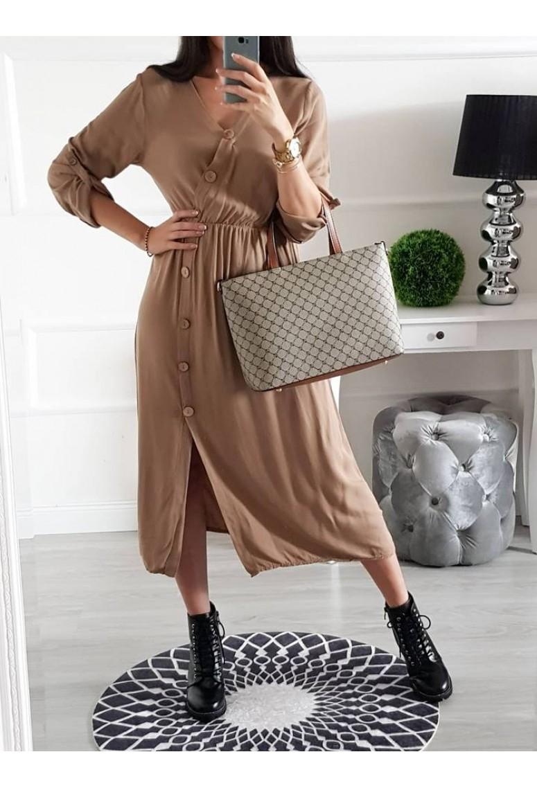 Košeľové šaty Maxis - hnedé
