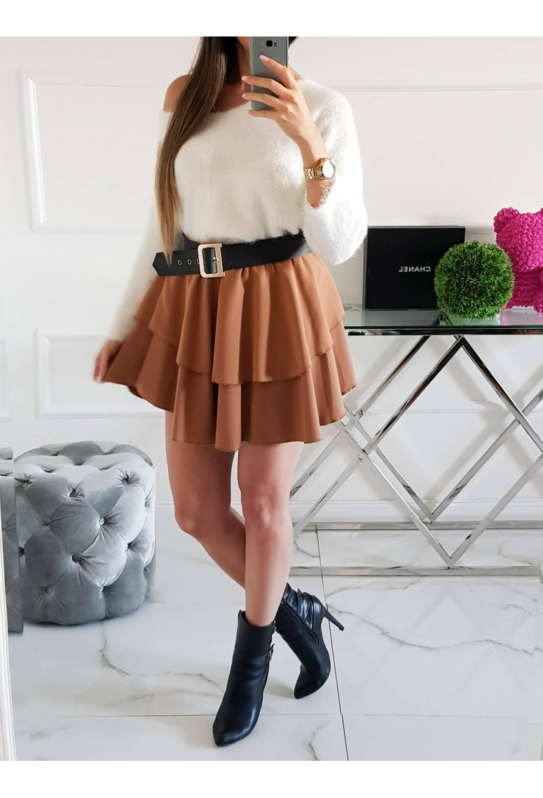 Volánová sukňa Mikke - hnedá