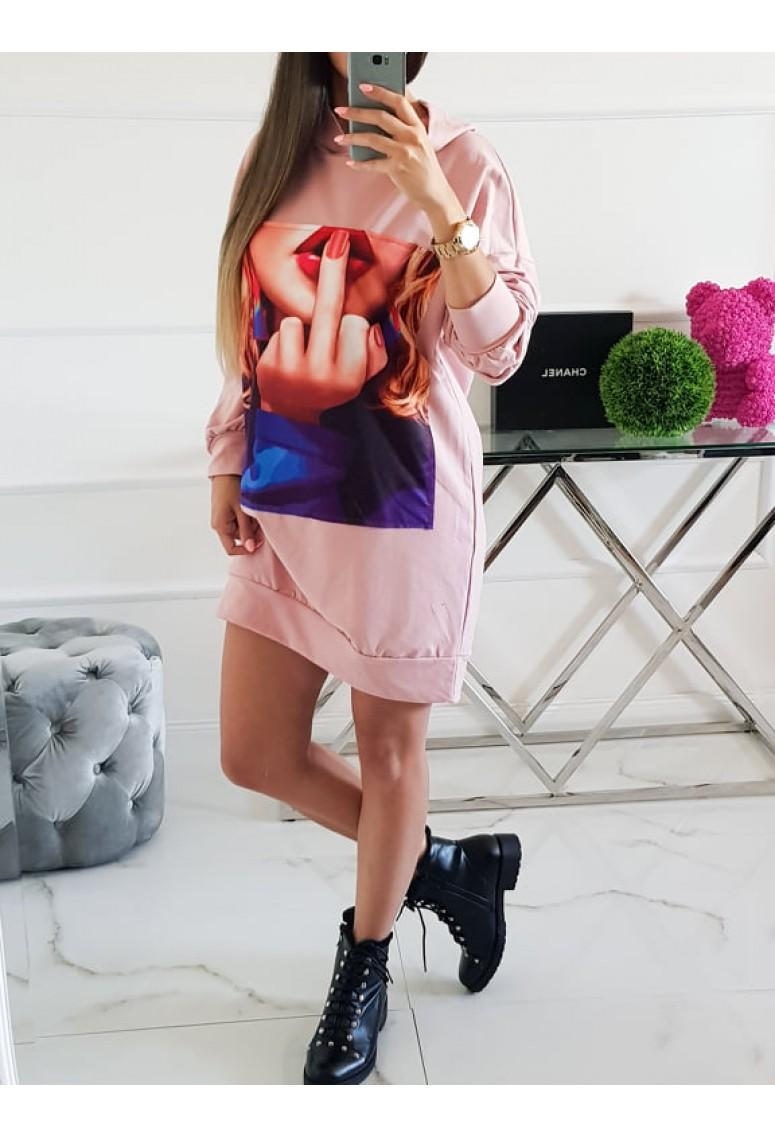 Teplakové šaty She - ružové