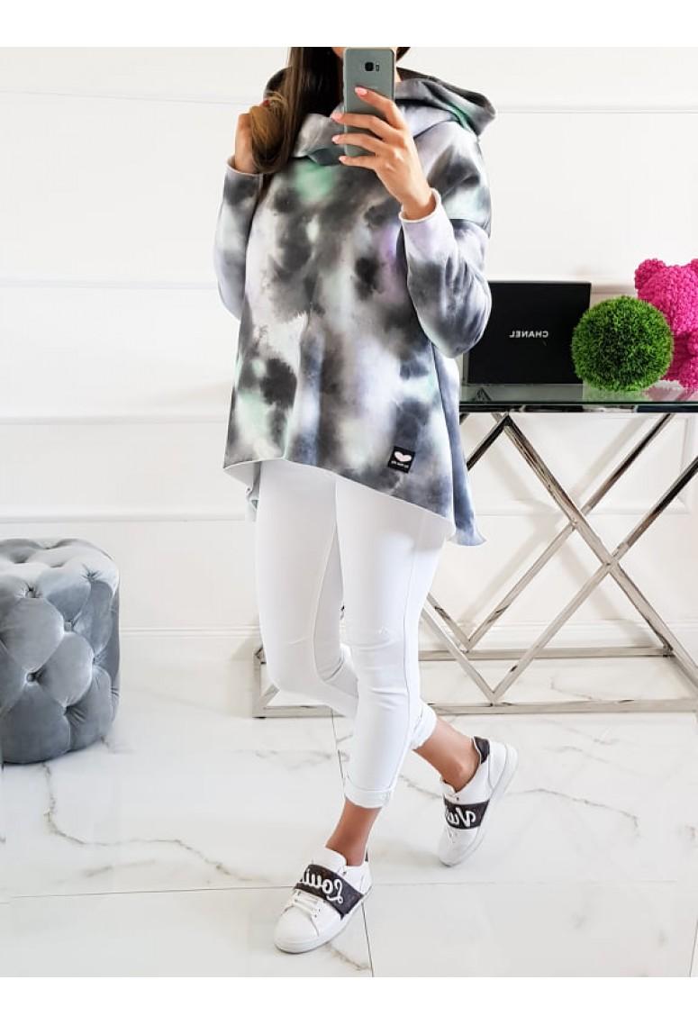 Hrubá mikina Miss C  krátka batika / sivá