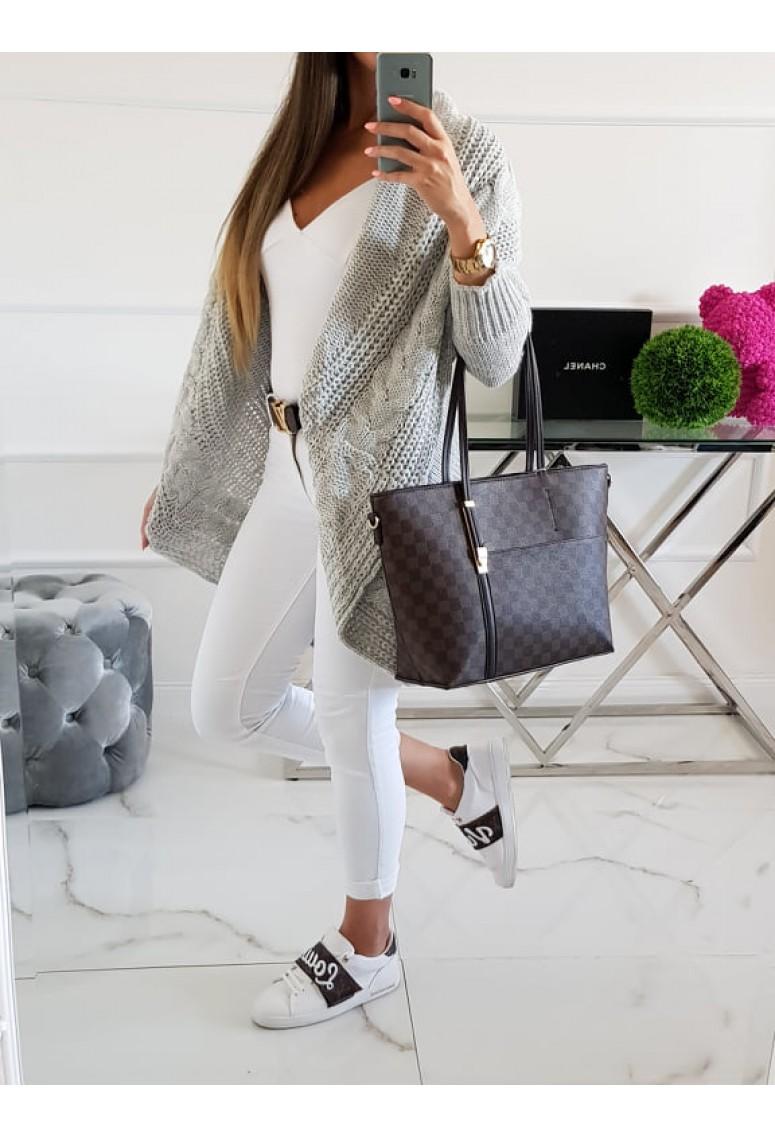Pletený sveter s osmičkovým vzorom - sivý