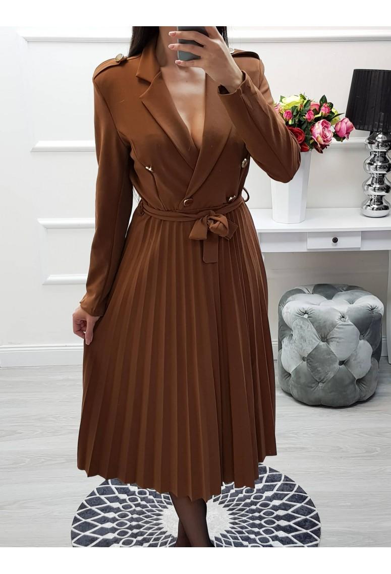 Midi šaty s plis sukňou - hnedé 863fe7e8fcf