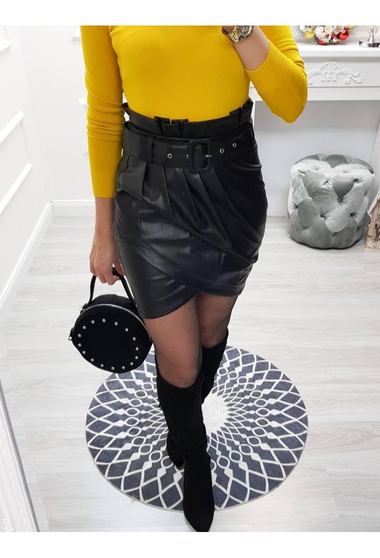 Tulipánová koženková sukňa