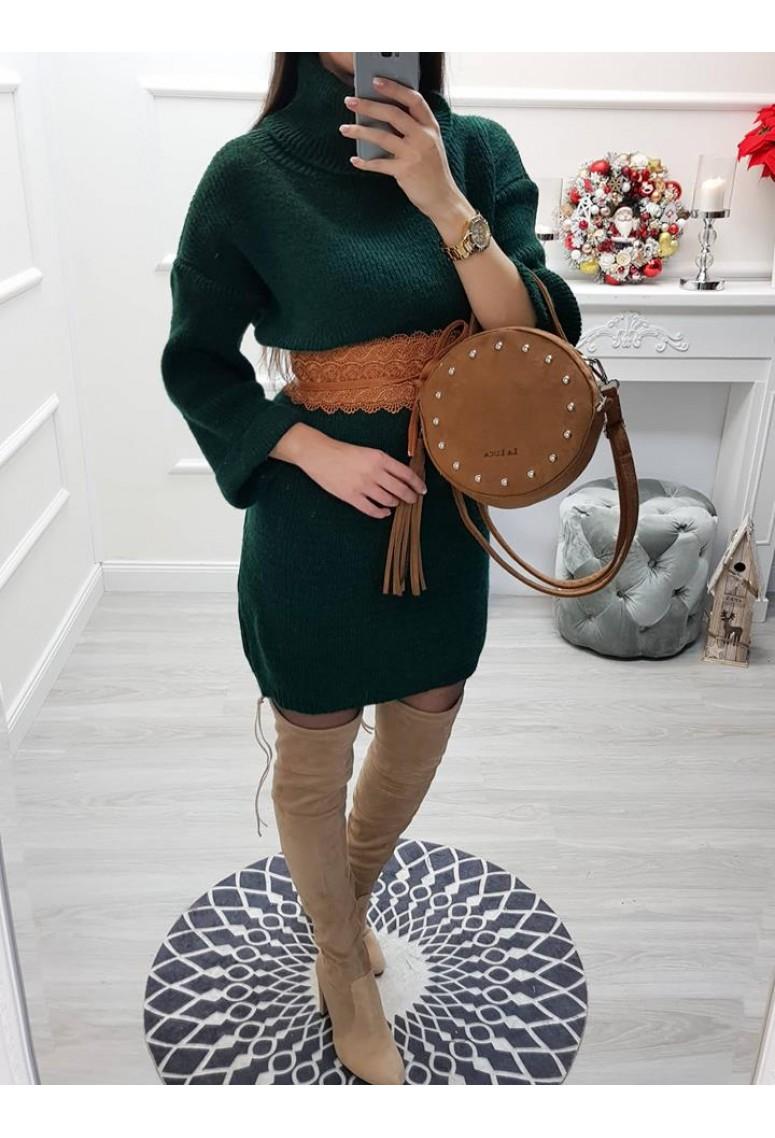 Pletené rolákové šaty Tia - zelené f83233968d7