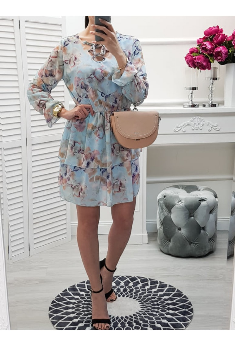 Šaty Ellys kvetované - bledomodré
