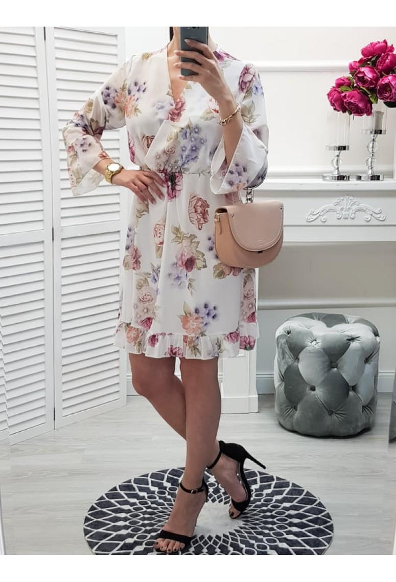 Šaty Moniss - biele kvetované