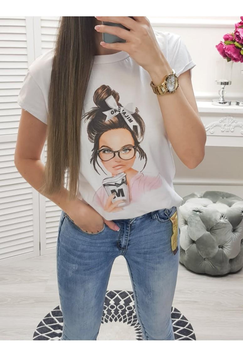 Tričko s maľovanou potlačou - MILANO GIRL