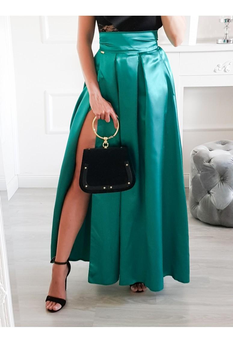 Saténová maxi sukňa Sana - smaragdová