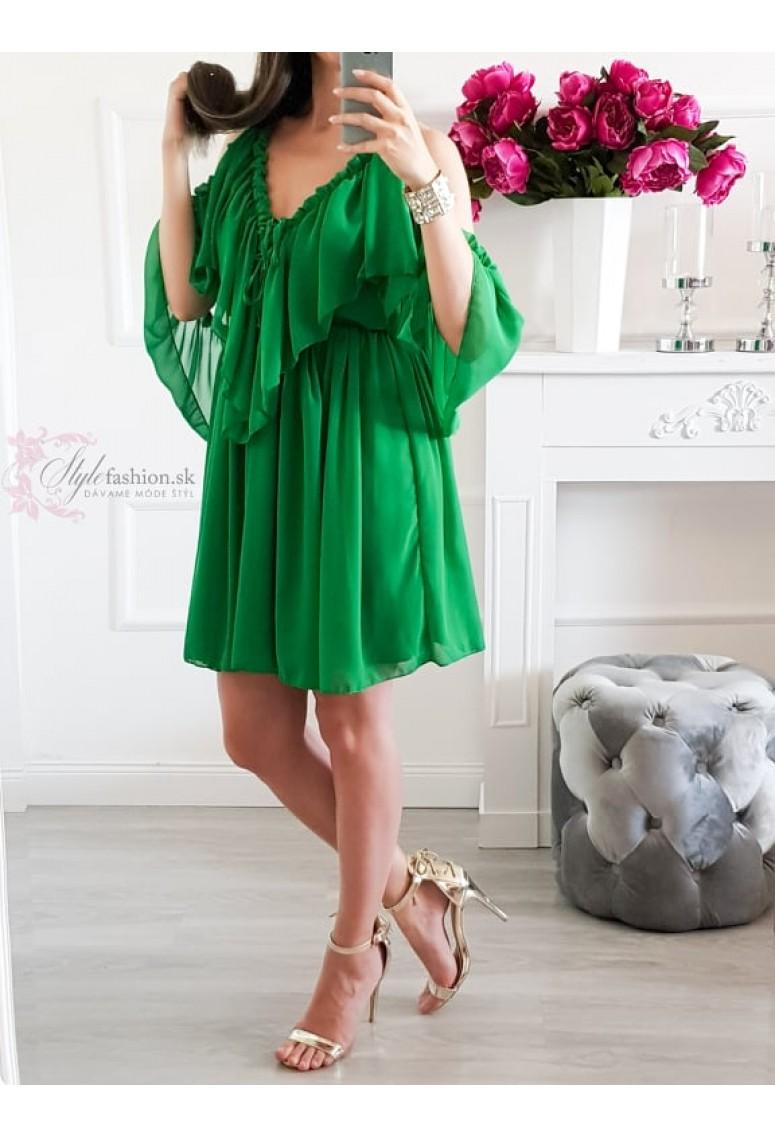 Volánové šaty Sheilla - zelené