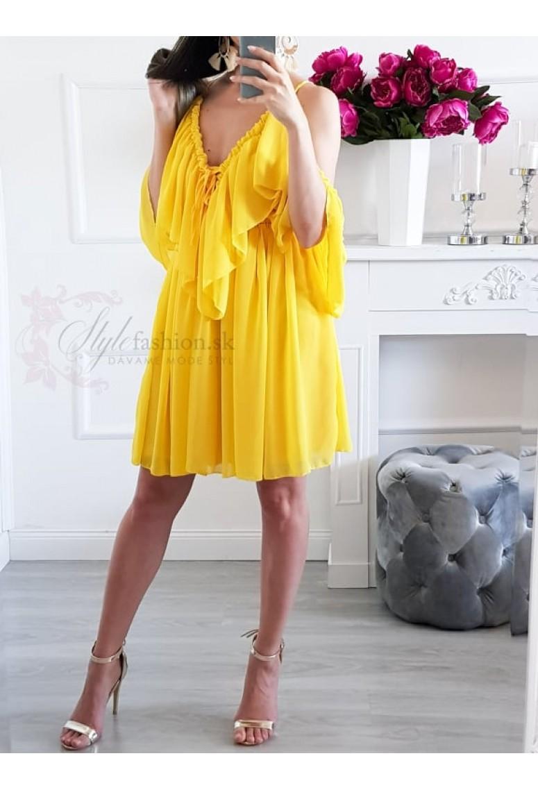 Volánové šaty Sheilla - žlté
