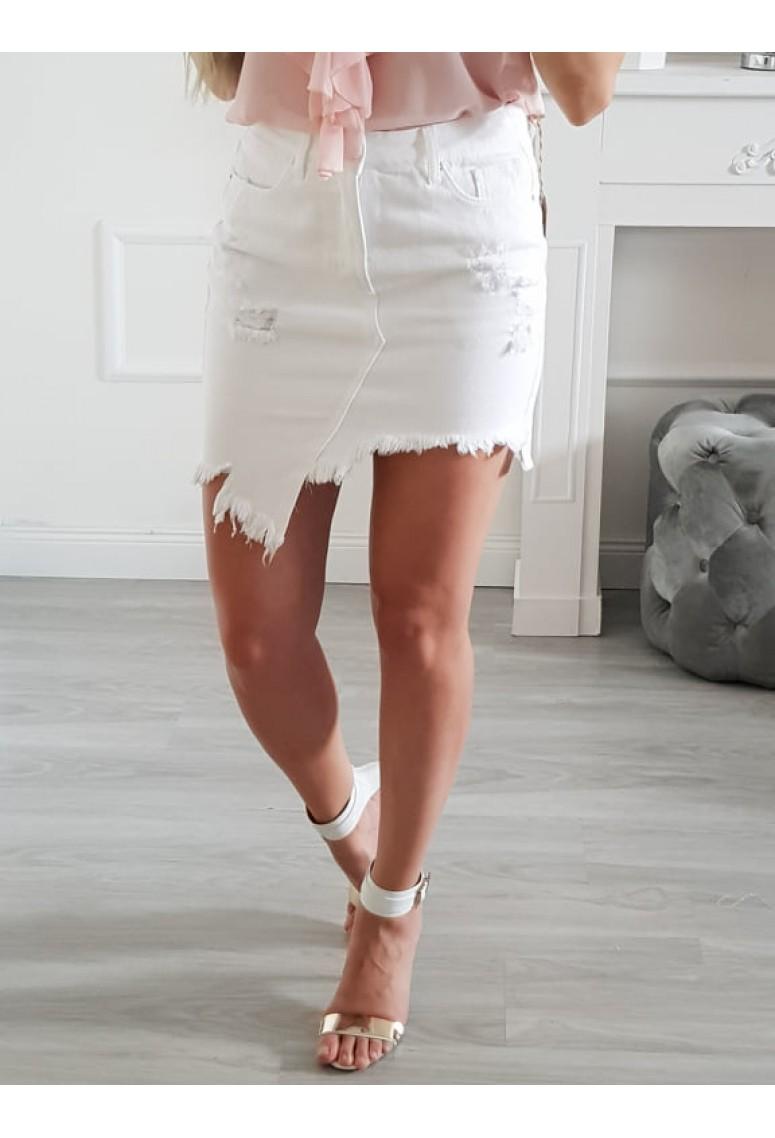 Rifľová sukňa Fashion- biela