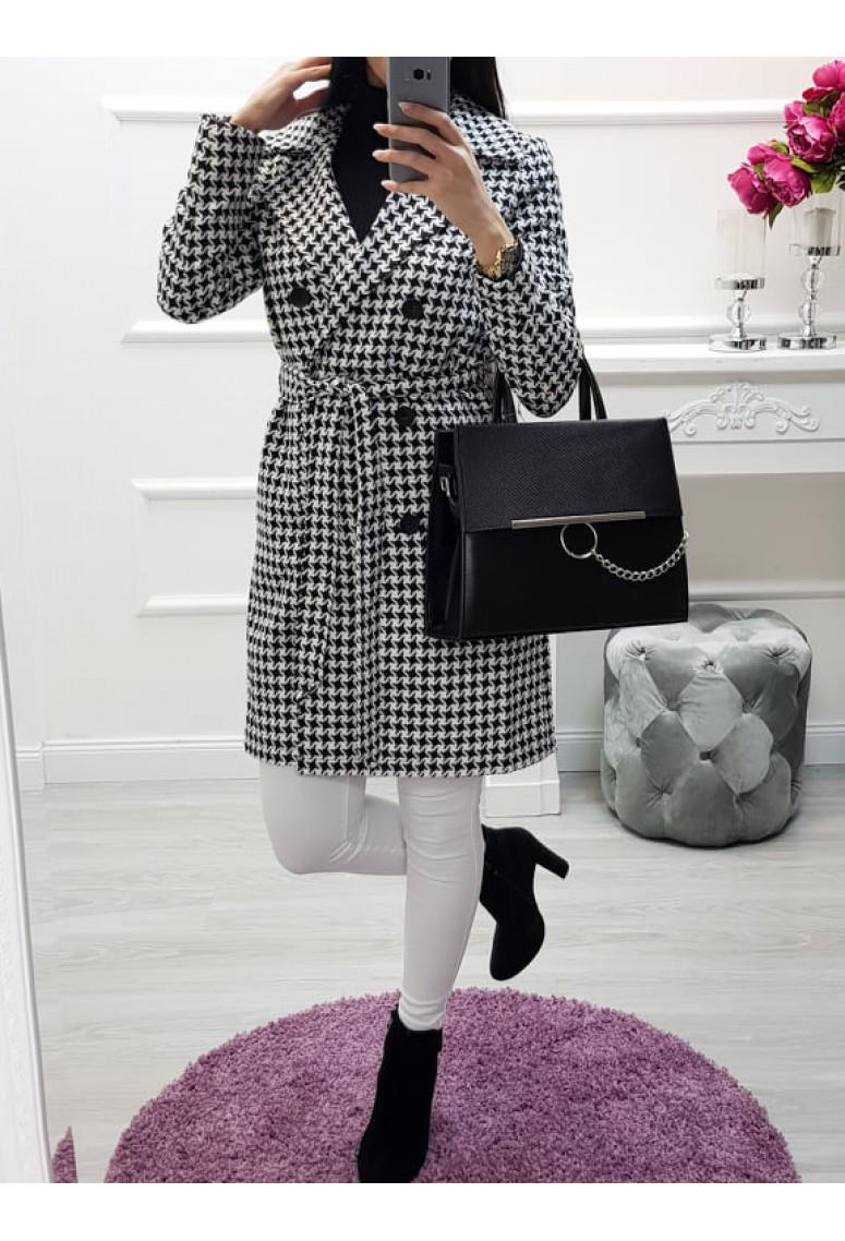 Prechodný kabát s kohuťou stopou Femme