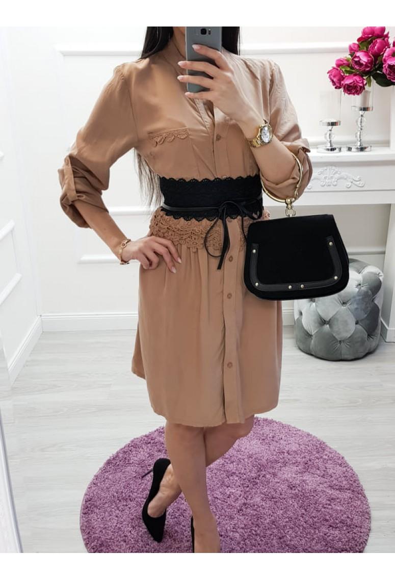Košeľové šaty Sabra - hnedé