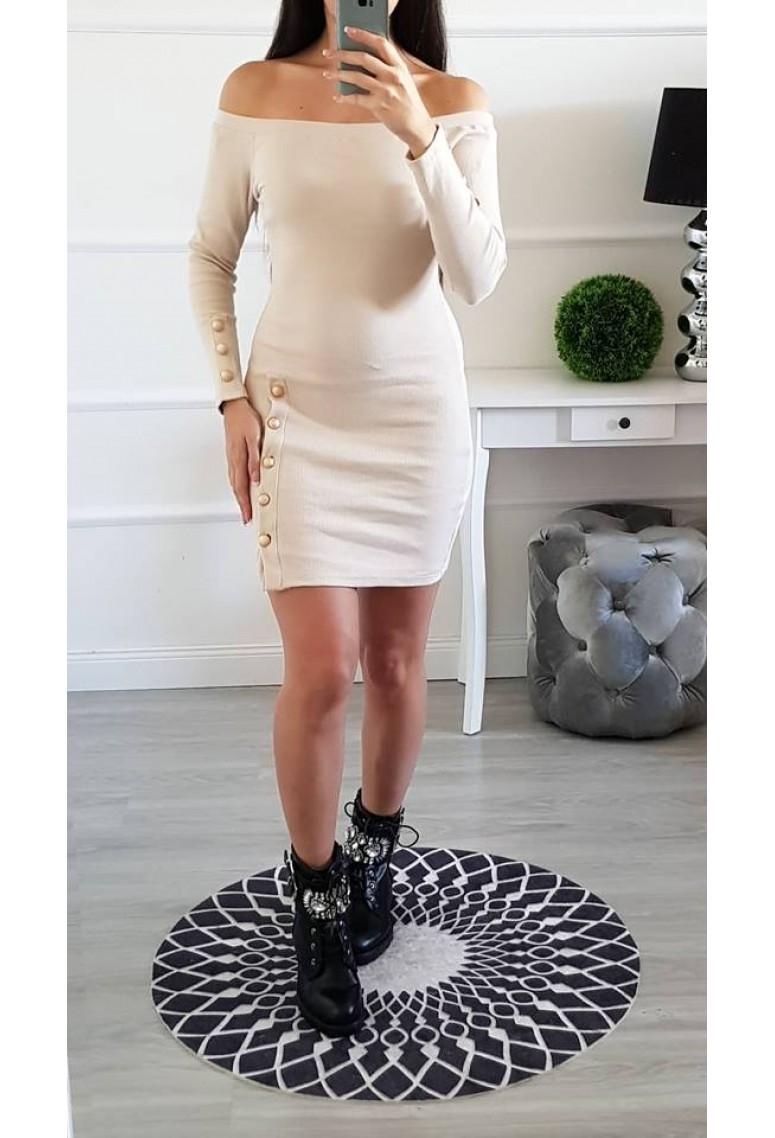 Elastické šaty Gabriella - béžové