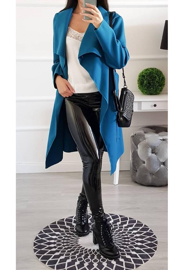 Flaušový kabátik Mia - modrý