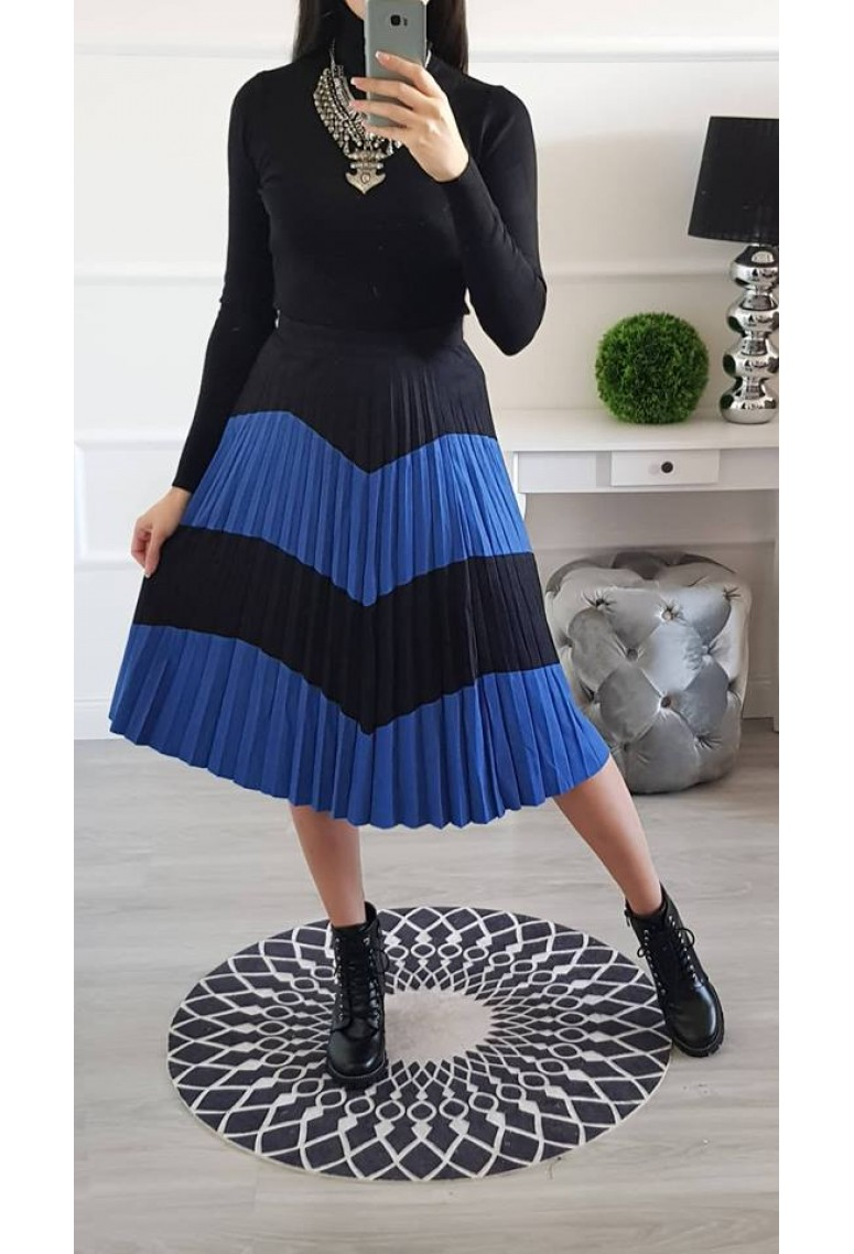 Plysovaná sukňa semiš Blue - Black