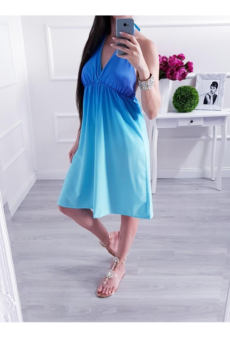 Krátke šaty Ombre Tyrkys