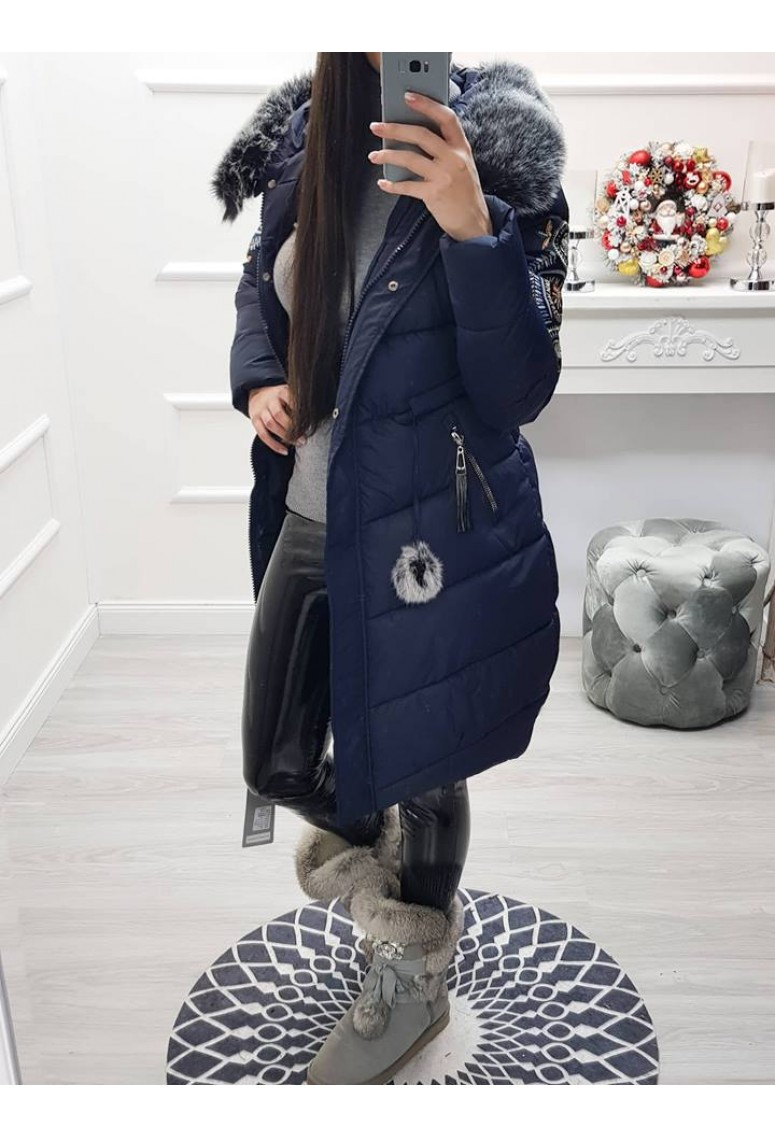 Zimná bundička s vyšívkou na rukáve - tmavomodrá