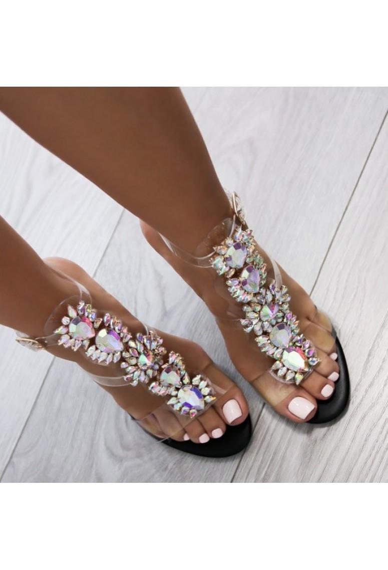 Sandálky Chica Diamonds - čierne